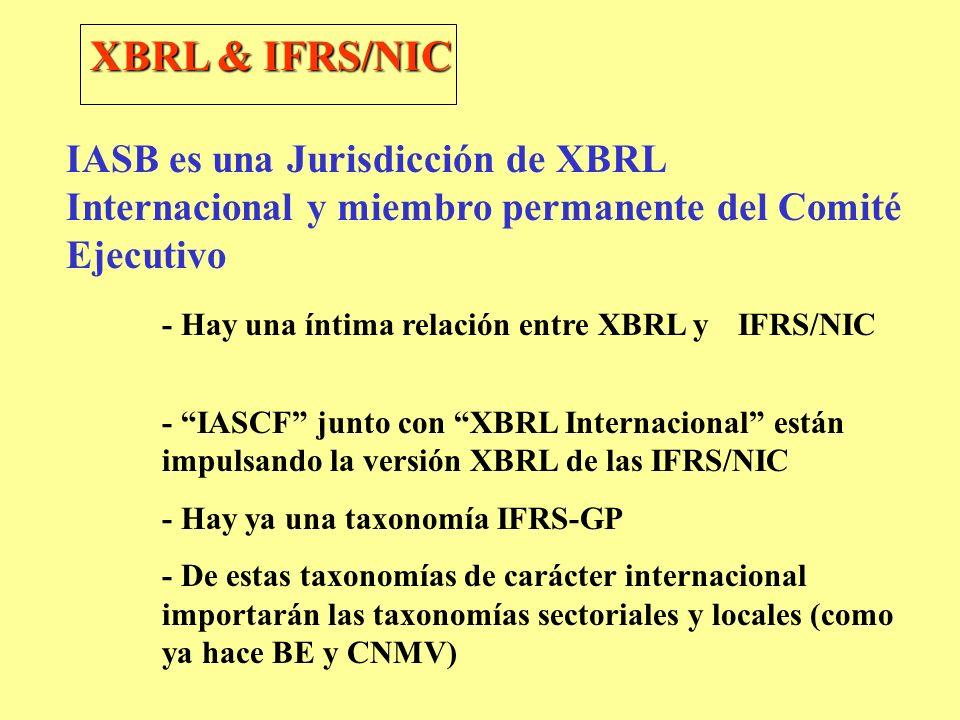 IASB es una Jurisdicción de XBRL Internacional y miembro permanente del Comité Ejecutivo - Hay una íntima relación entre XBRL y IFRS/NIC - IASCF junto