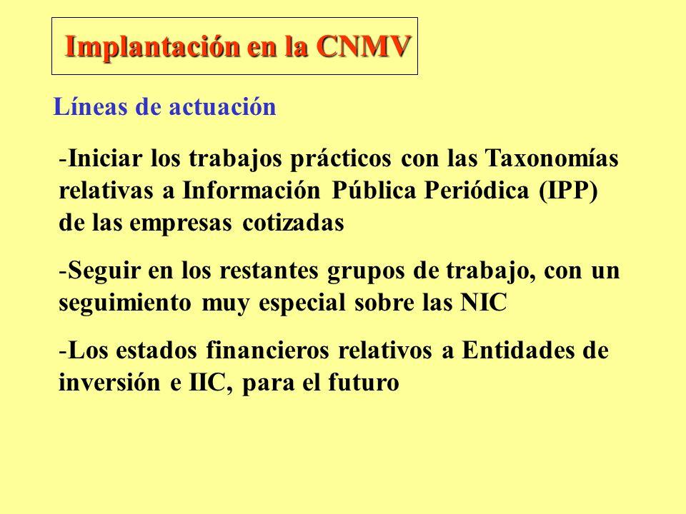 Implantación en la CNMV -Iniciar los trabajos prácticos con las Taxonomías relativas a Información Pública Periódica (IPP) de las empresas cotizadas -