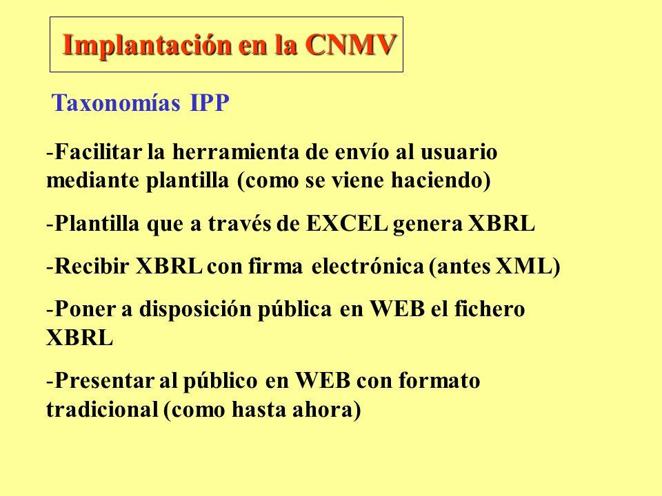 Implantación en la CNMV -Facilitar la herramienta de envío al usuario mediante plantilla (como se viene haciendo) -Plantilla que a través de EXCEL gen