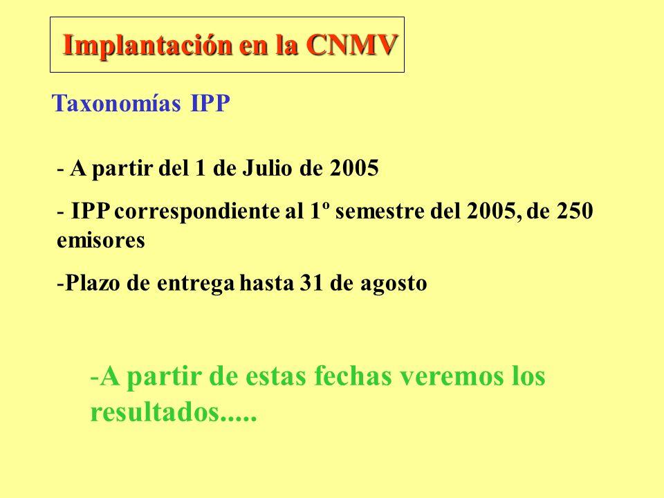 Implantación en la CNMV - A partir del 1 de Julio de 2005 - IPP correspondiente al 1º semestre del 2005, de 250 emisores -Plazo de entrega hasta 31 de
