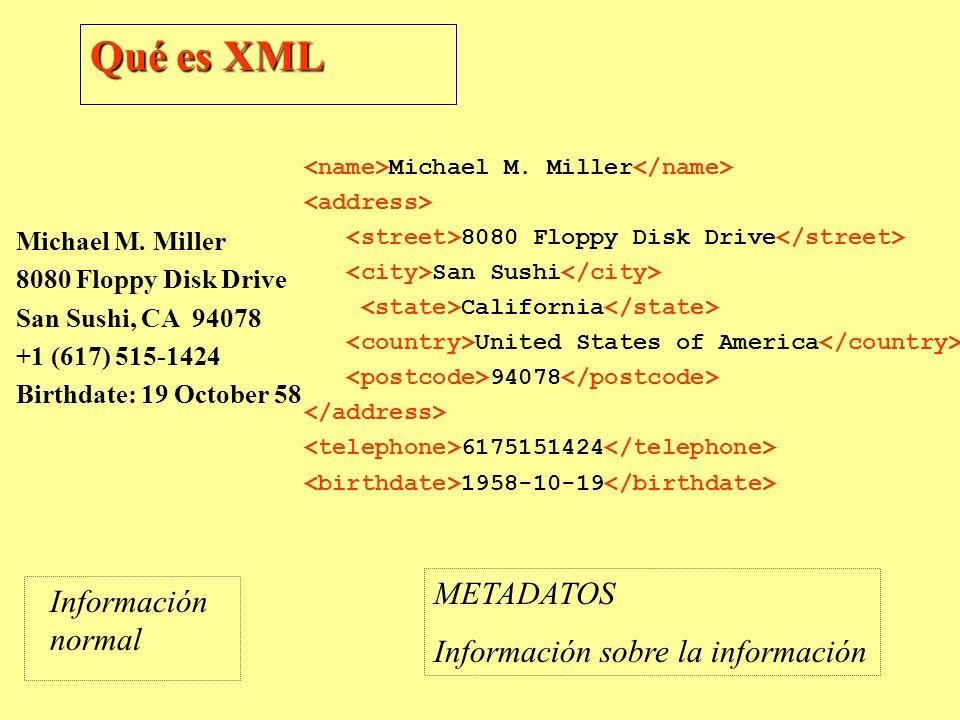 Qué es XML Michael M. Miller 8080 Floppy Disk Drive San Sushi, CA 94078 +1 (617) 515-1424 Birthdate: 19 October 58 Michael M. Miller 8080 Floppy Disk