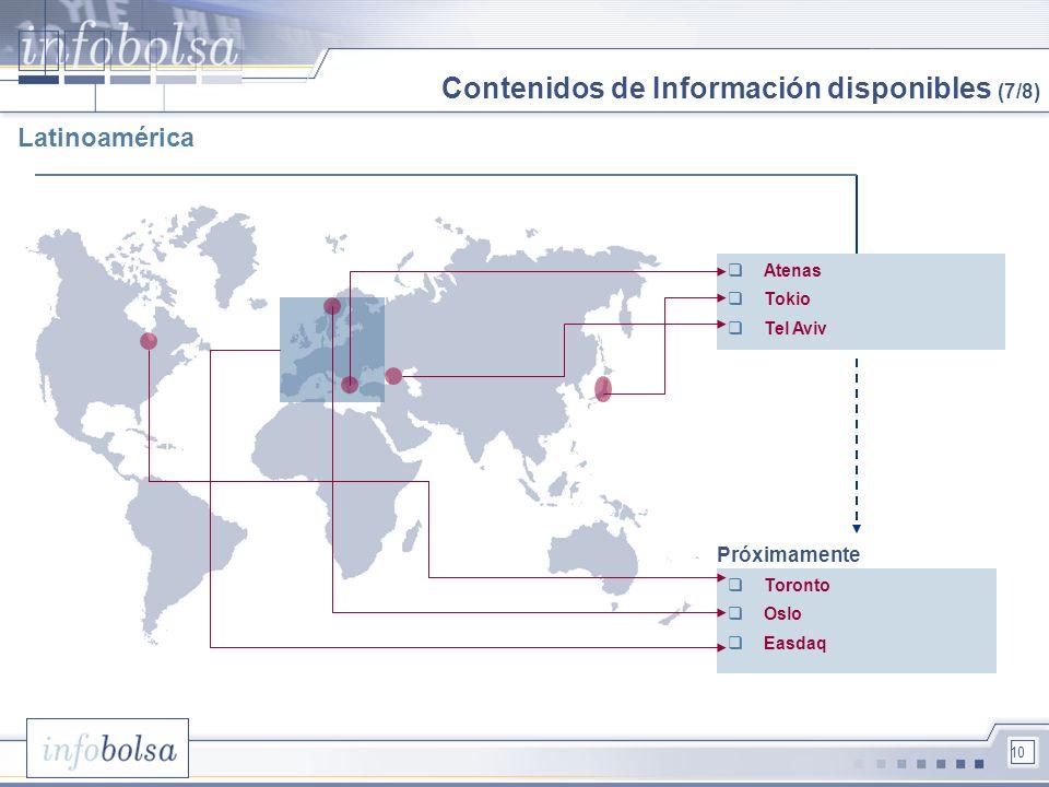 10 Atenas Tokio Tel Aviv Toronto Oslo Easdaq Próximamente Contenidos de Información disponibles (7/8) Latinoamérica