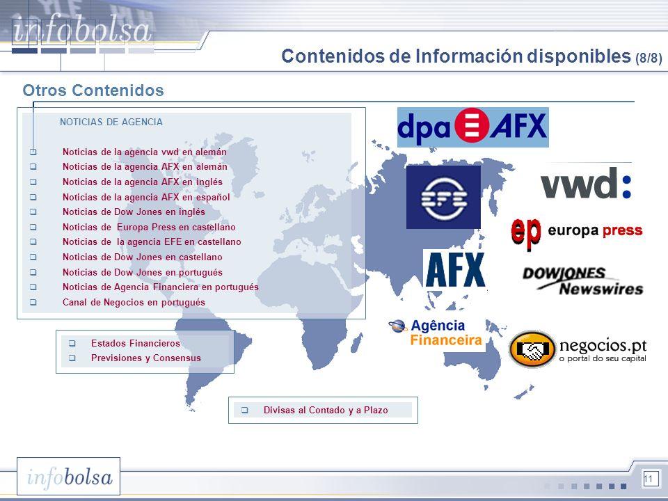 11 Otros Contenidos NOTICIAS DE AGENCIA Noticias de la agencia vwd en alemán Noticias de la agencia AFX en alemán Noticias de la agencia AFX en inglés