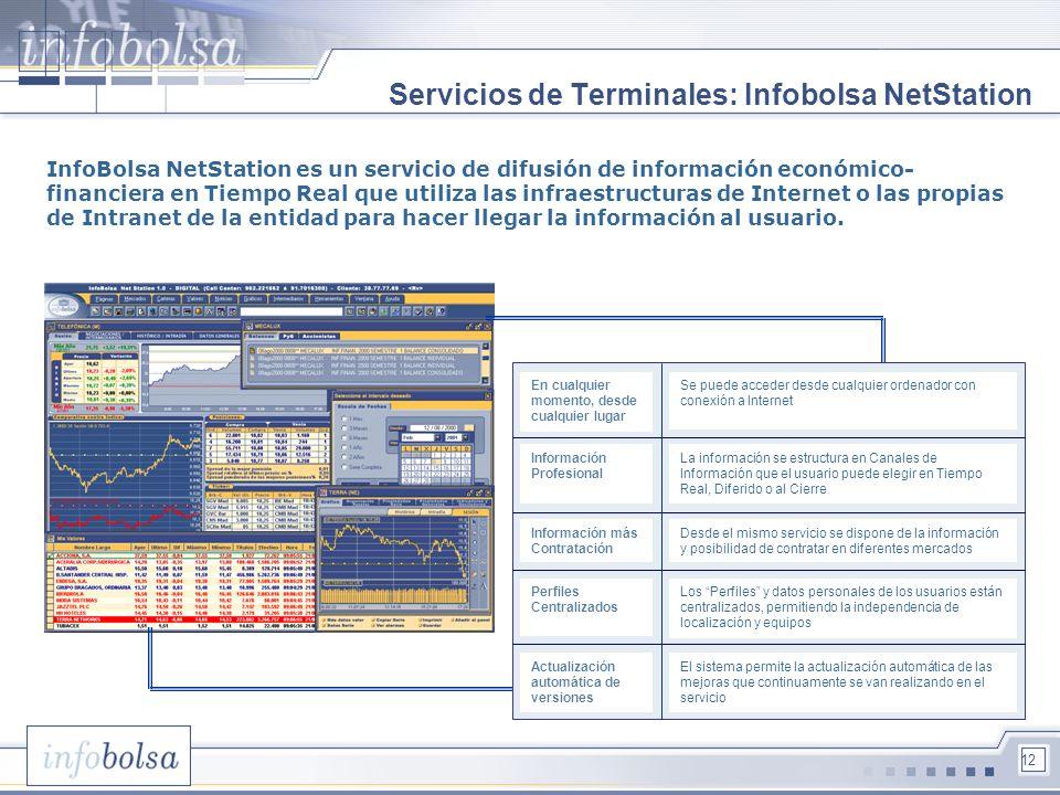 12 Servicios de Terminales: Infobolsa NetStation InfoBolsa NetStation es un servicio de difusión de información económico- financiera en Tiempo Real q