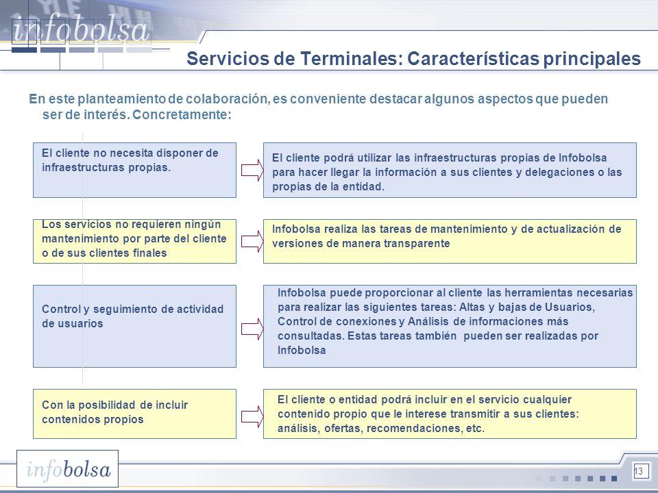 13 Servicios de Terminales: Características principales En este planteamiento de colaboración, es conveniente destacar algunos aspectos que pueden ser