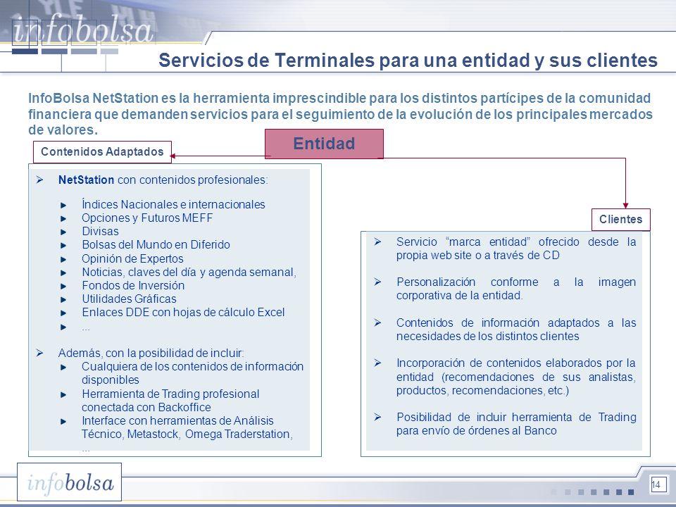 14 Servicios de Terminales para una entidad y sus clientes InfoBolsa NetStation es la herramienta imprescindible para los distintos partícipes de la c