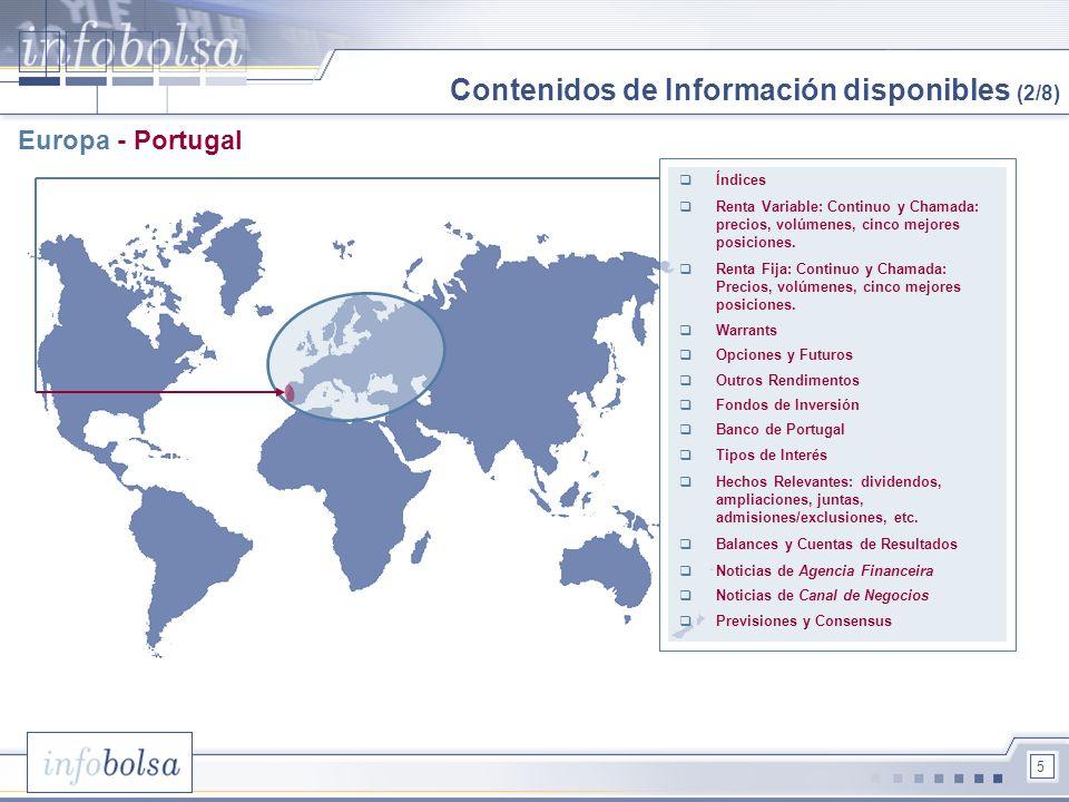 5 Europa - Portugal Índices Renta Variable: Continuo y Chamada: precios, volúmenes, cinco mejores posiciones. Renta Fija: Continuo y Chamada: Precios,