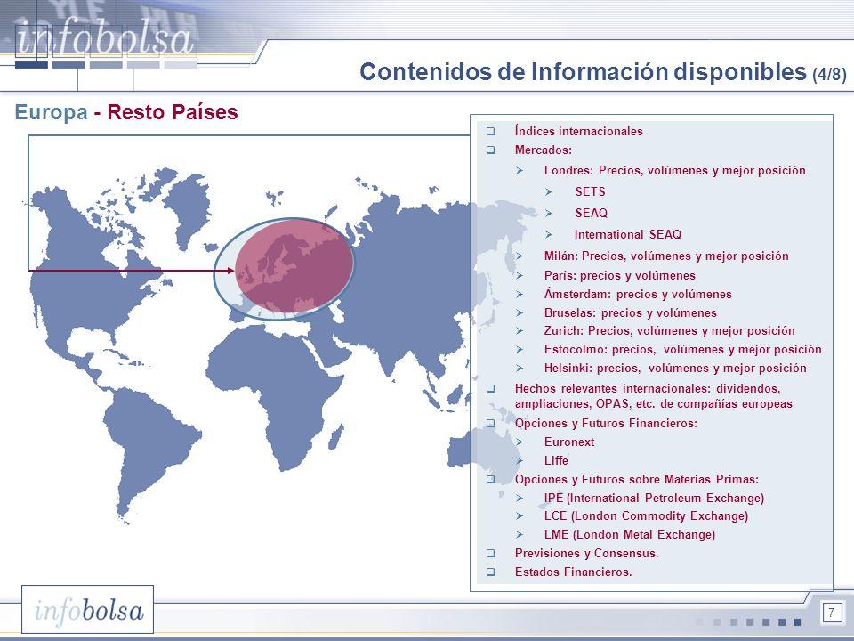 7 Europa - Resto Países Índices internacionales Mercados: Londres: Precios, volúmenes y mejor posición SETS SEAQ International SEAQ Milán: Precios, vo