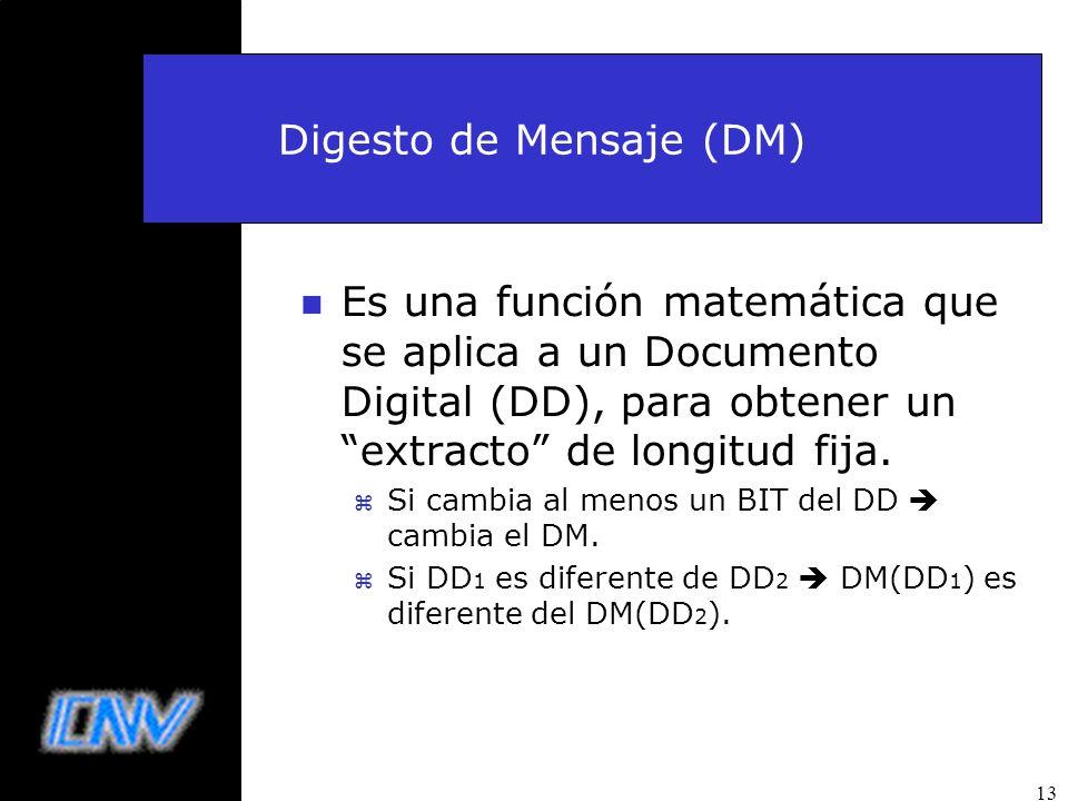 13 Digesto de Mensaje (DM) n Es una función matemática que se aplica a un Documento Digital (DD), para obtener un extracto de longitud fija. z Si camb