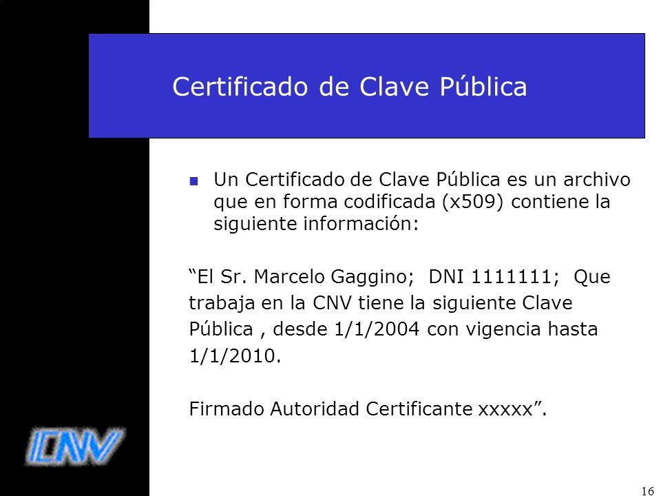 16 Certificado de Clave Pública n Un Certificado de Clave Pública es un archivo que en forma codificada (x509) contiene la siguiente información: El S