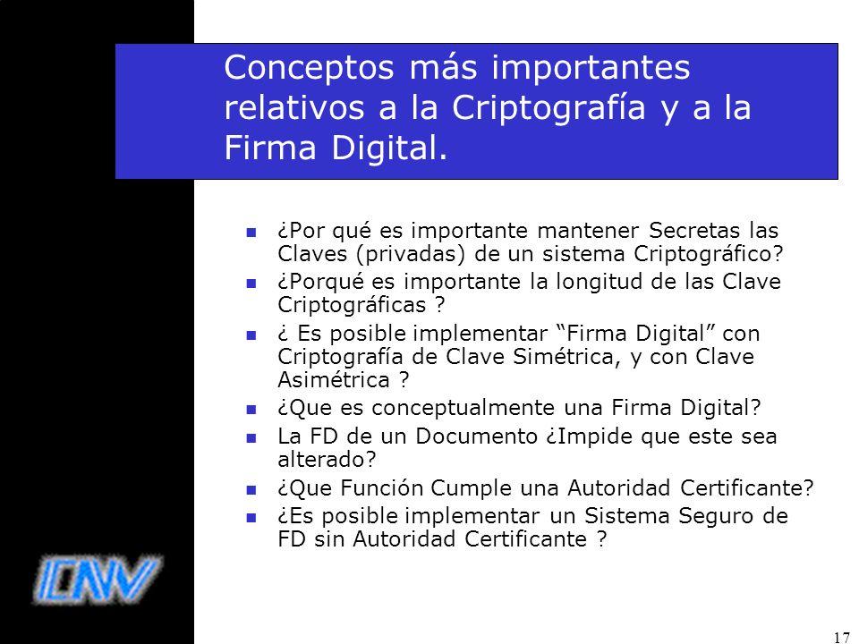 17 Conceptos más importantes relativos a la Criptografía y a la Firma Digital. n ¿Por qué es importante mantener Secretas las Claves (privadas) de un