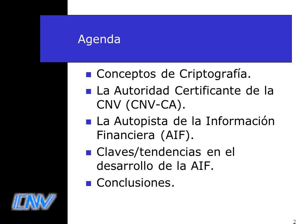 2 Agenda n Conceptos de Criptografía. n La Autoridad Certificante de la CNV (CNV-CA). n La Autopista de la Información Financiera (AIF). n Claves/tend