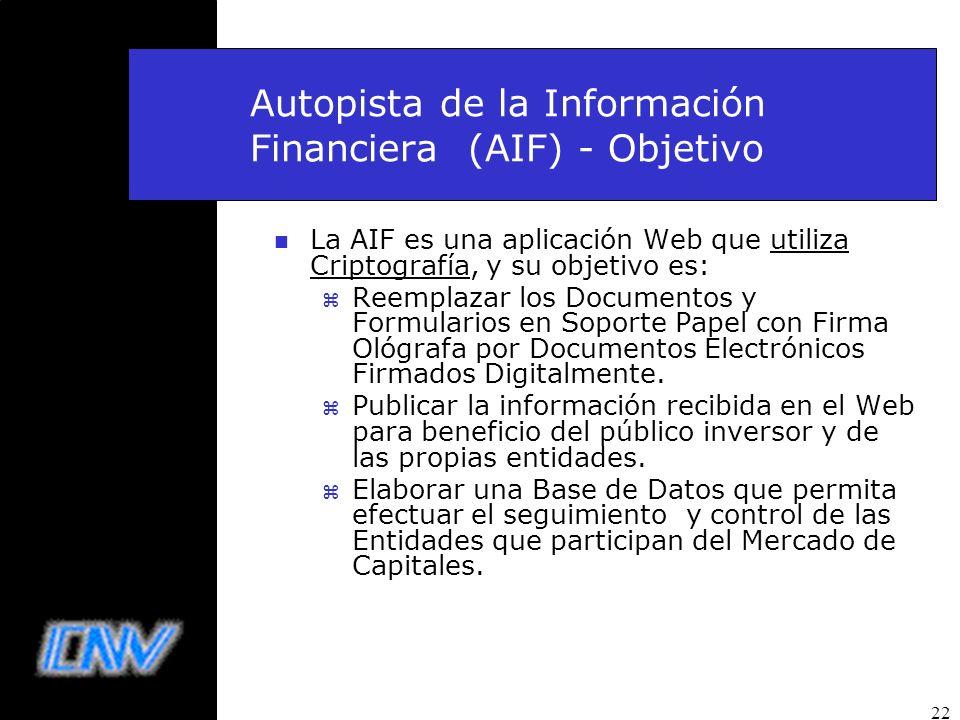22 Autopista de la Información Financiera (AIF) - Objetivo n La AIF es una aplicación Web que utiliza Criptografía, y su objetivo es: z Reemplazar los