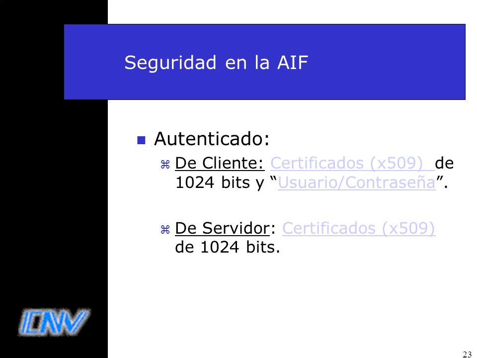 23 Seguridad en la AIF n Autenticado: z De Cliente: Certificados (x509) de 1024 bits y Usuario/Contraseña.Certificados (x509) Usuario/Contraseña z De