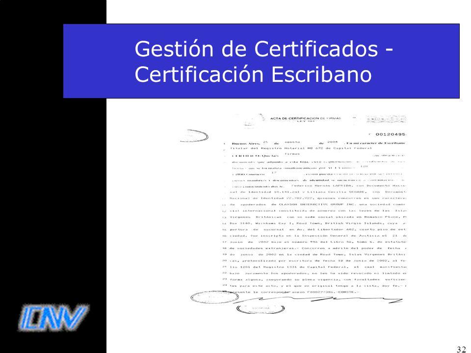 32 Gestión de Certificados - Certificación Escribano