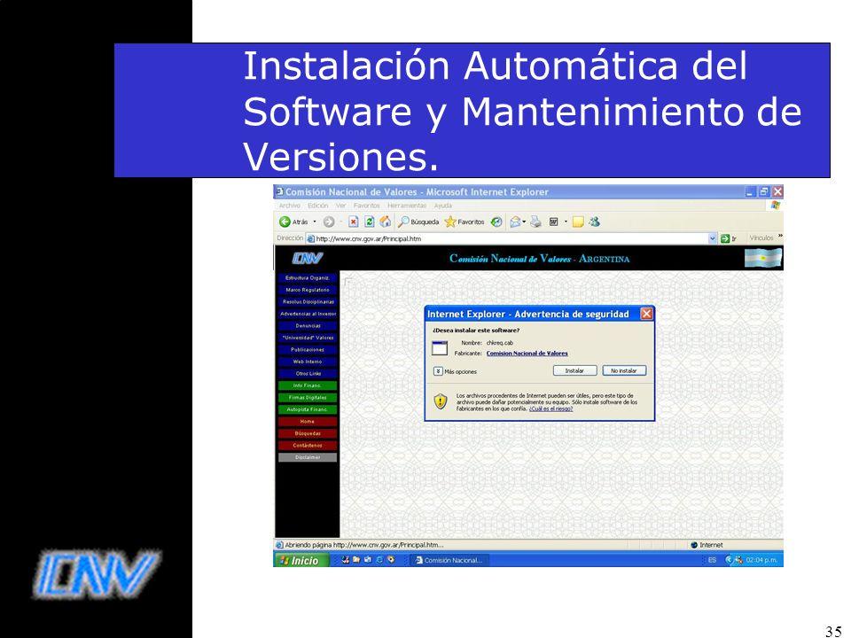 35 Instalación Automática del Software y Mantenimiento de Versiones.