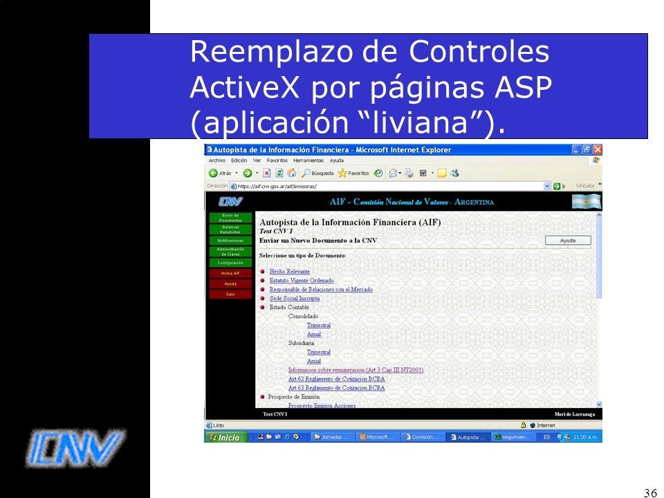 36 Reemplazo de Controles ActiveX por páginas ASP (aplicación liviana).