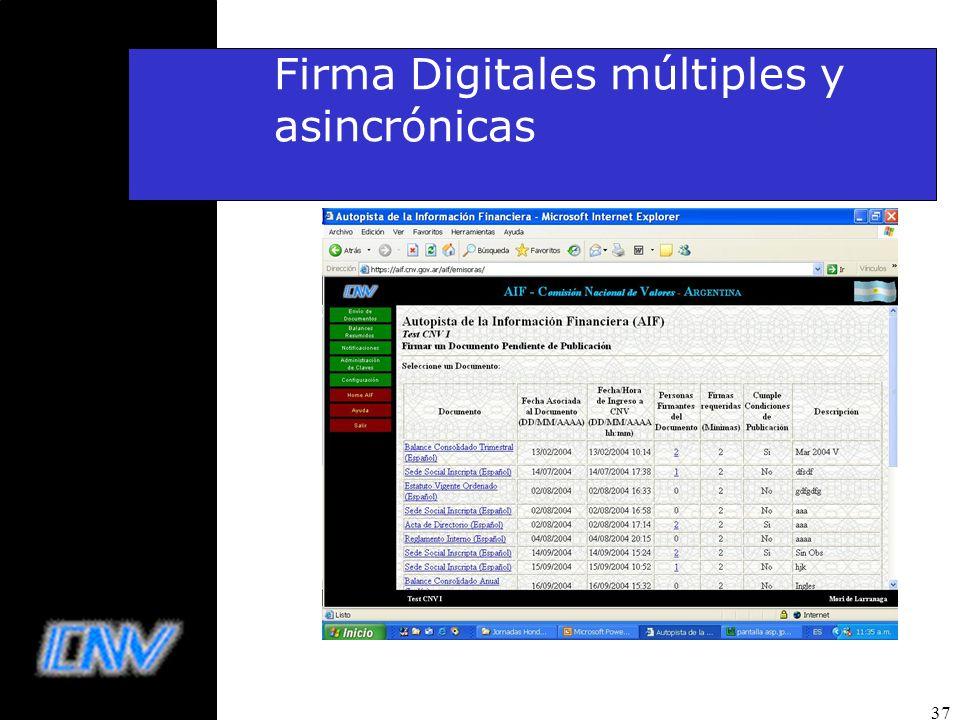 37 Firma Digitales múltiples y asincrónicas