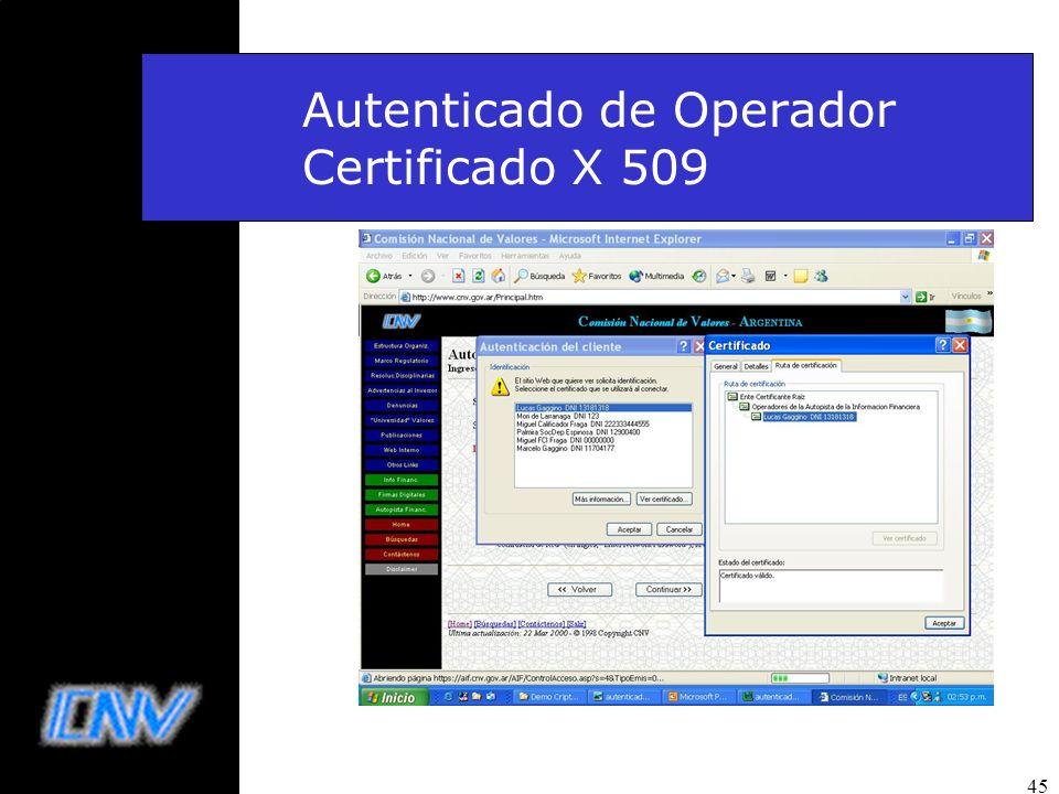 45 Autenticado de Operador Certificado X 509
