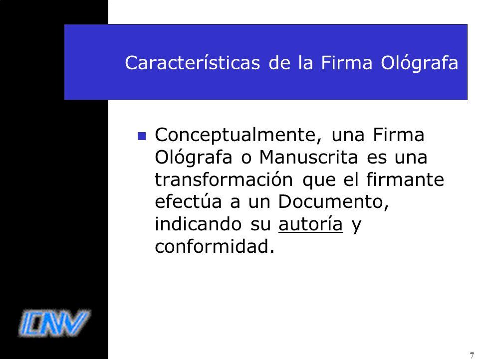 7 Características de la Firma Ológrafa n Conceptualmente, una Firma Ológrafa o Manuscrita es una transformación que el firmante efectúa a un Documento
