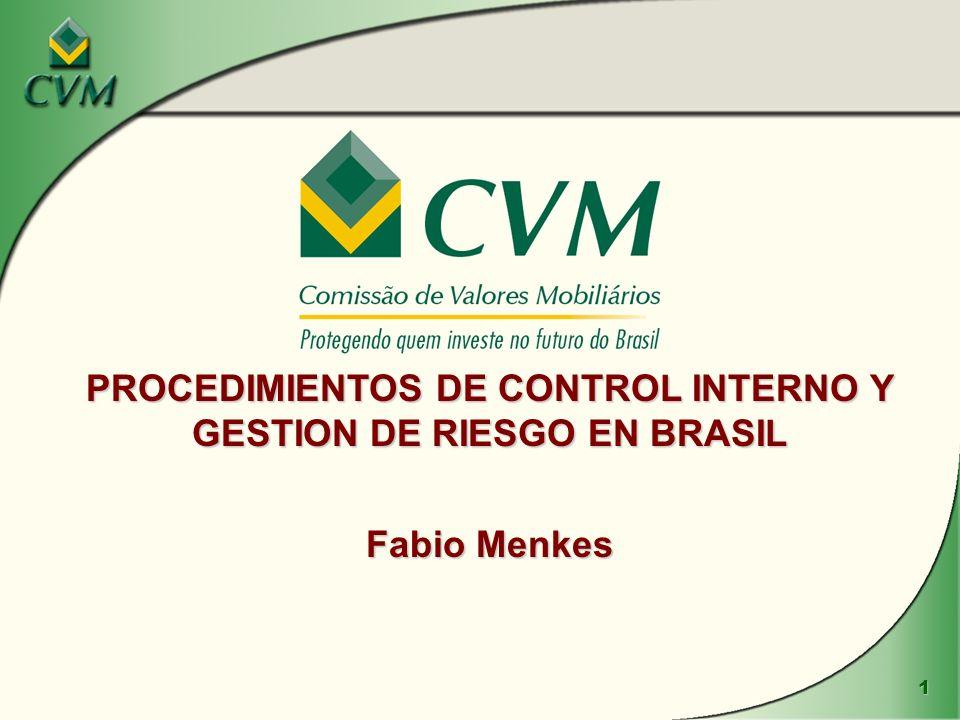 1 PROCEDIMIENTOS DE CONTROL INTERNO Y GESTION DE RIESGO EN BRASIL Fabio Menkes