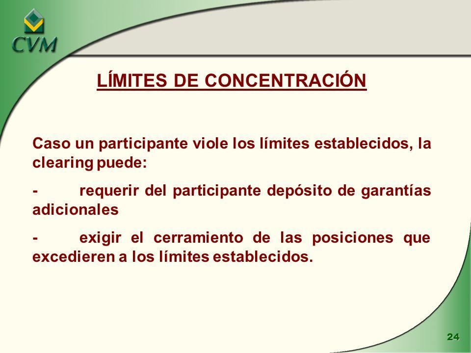 24 LÍMITES DE CONCENTRACIÓN Caso un participante viole los límites establecidos, la clearing puede: -requerir del participante depósito de garantías adicionales -exigir el cerramiento de las posiciones que excedieren a los límites establecidos.