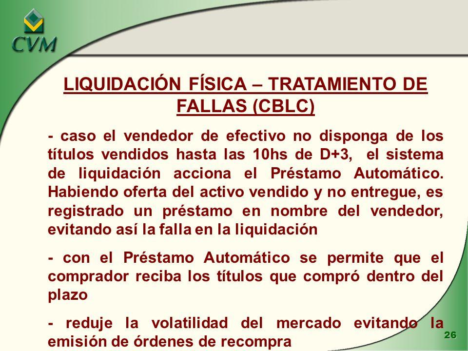 26 LIQUIDACIÓN FÍSICA – TRATAMIENTO DE FALLAS (CBLC) - caso el vendedor de efectivo no disponga de los títulos vendidos hasta las 10hs de D+3, el sistema de liquidación acciona el Préstamo Automático.