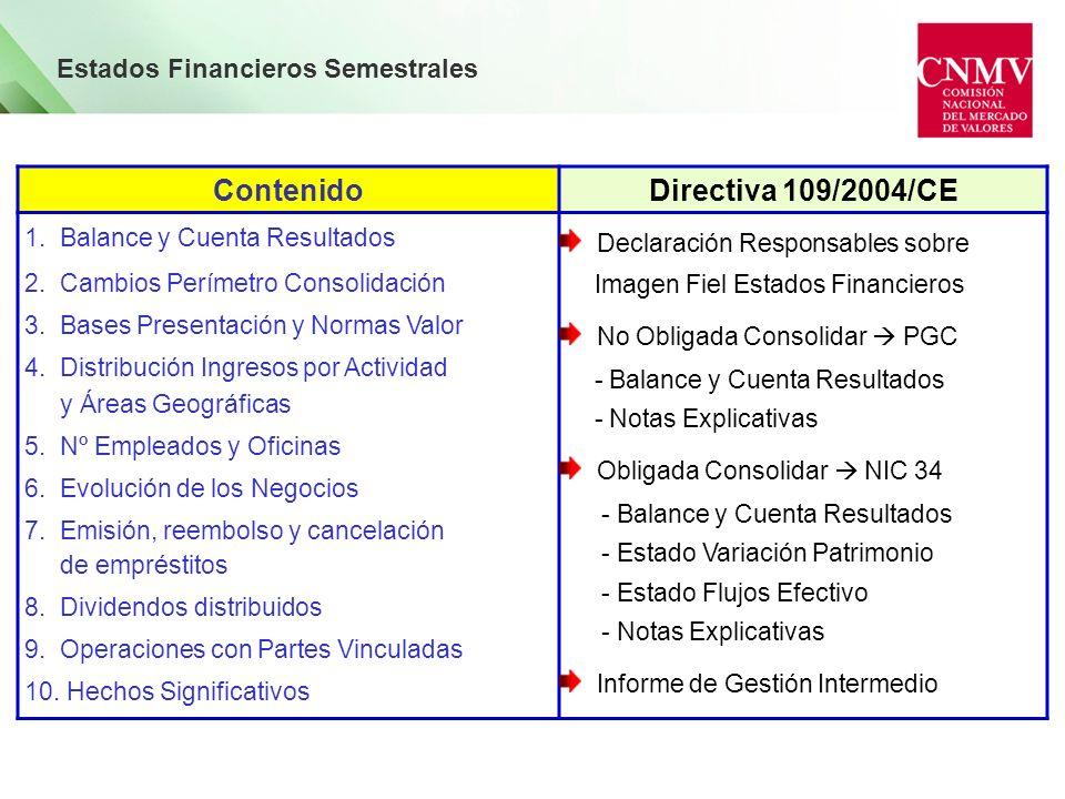 Estados Financieros Semestrales ContenidoDirectiva 109/2004/CE 1. Balance y Cuenta Resultados 2. Cambios Perímetro Consolidación 3. Bases Presentación