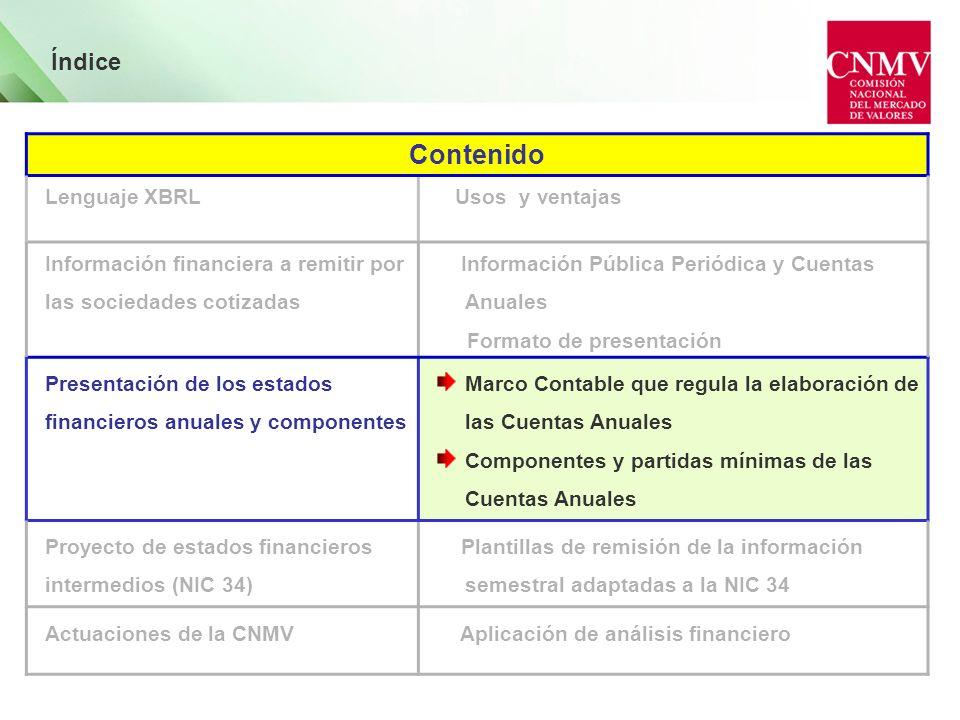 Índice Contenido Lenguaje XBRL Usos y ventajas Información financiera a remitir por las sociedades cotizadas Información Pública Periódica y Cuentas A