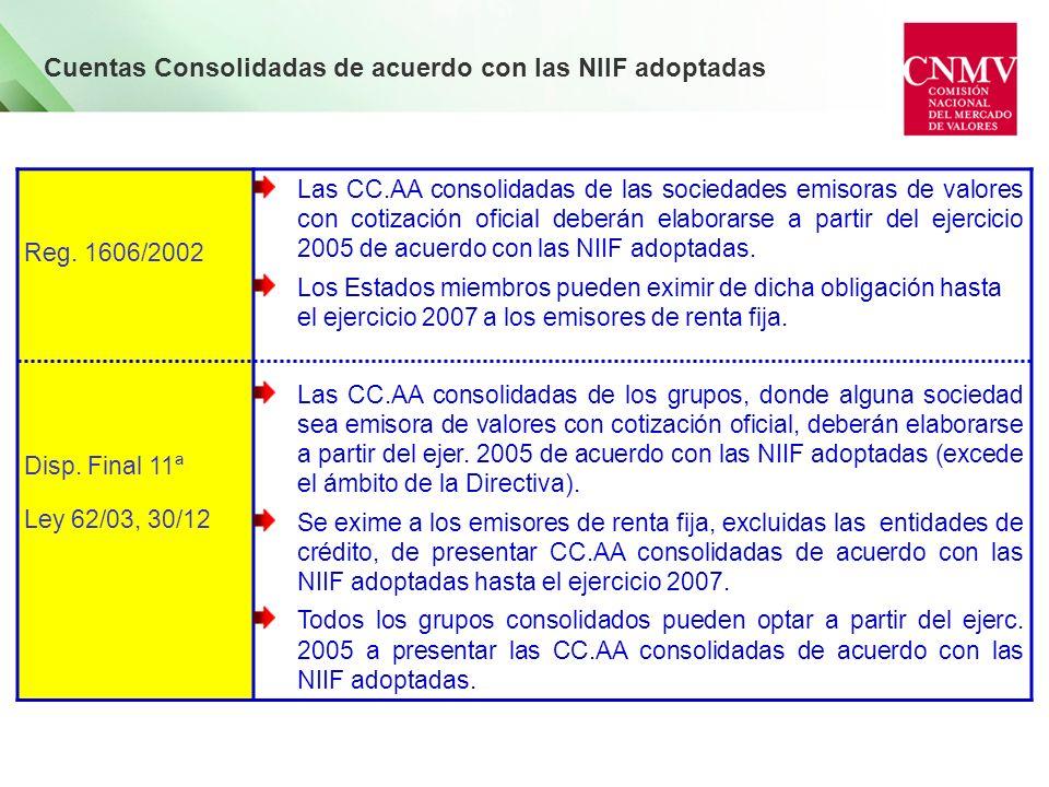 Reg. 1606/2002 Disp. Final 11ª Ley 62/03, 30/12 Las CC.AA consolidadas de las sociedades emisoras de valores con cotización oficial deberán elaborarse