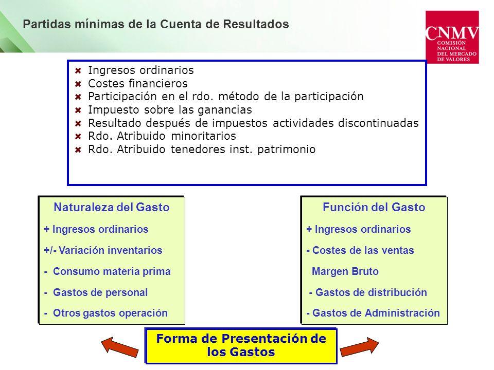 Partidas mínimas de la Cuenta de Resultados Ingresos ordinarios Costes financieros Participación en el rdo. método de la participación Impuesto sobre