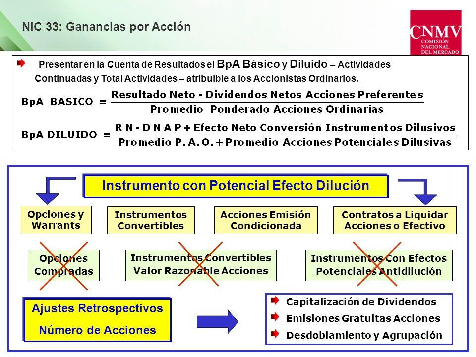 NIC 33: Ganancias por Acción Presentar en la Cuenta de Resultados el BpA Básico y Diluido – Actividades Continuadas y Total Actividades – atribuible a
