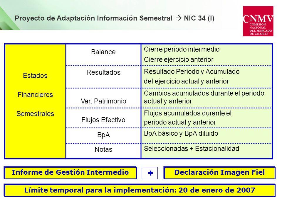 Proyecto de Adaptación Información Semestral NIC 34 (I) Estados Financieros Semestrales Balance Resultados Var. Patrimonio Flujos Efectivo BpA Notas C