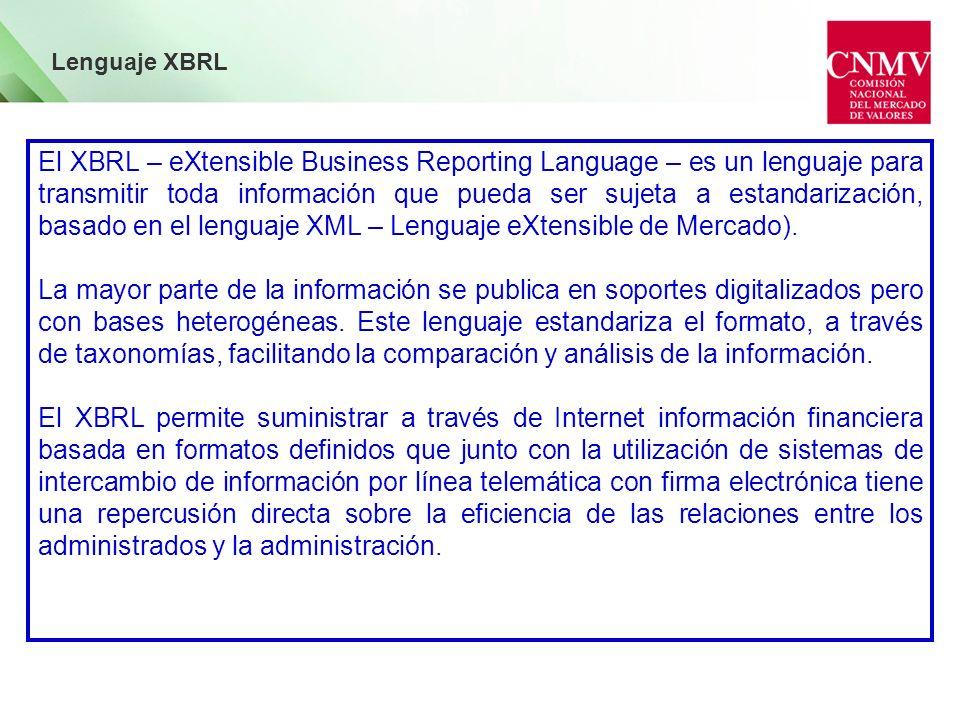El XBRL – eXtensible Business Reporting Language – es un lenguaje para transmitir toda información que pueda ser sujeta a estandarización, basado en e