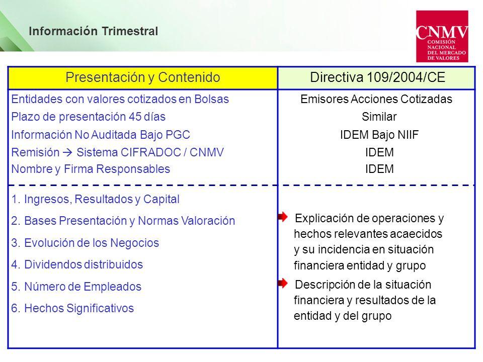 Información Trimestral Presentación y Contenido Directiva 109/2004/CE Entidades con valores cotizados en Bolsas Plazo de presentación 45 días Informac
