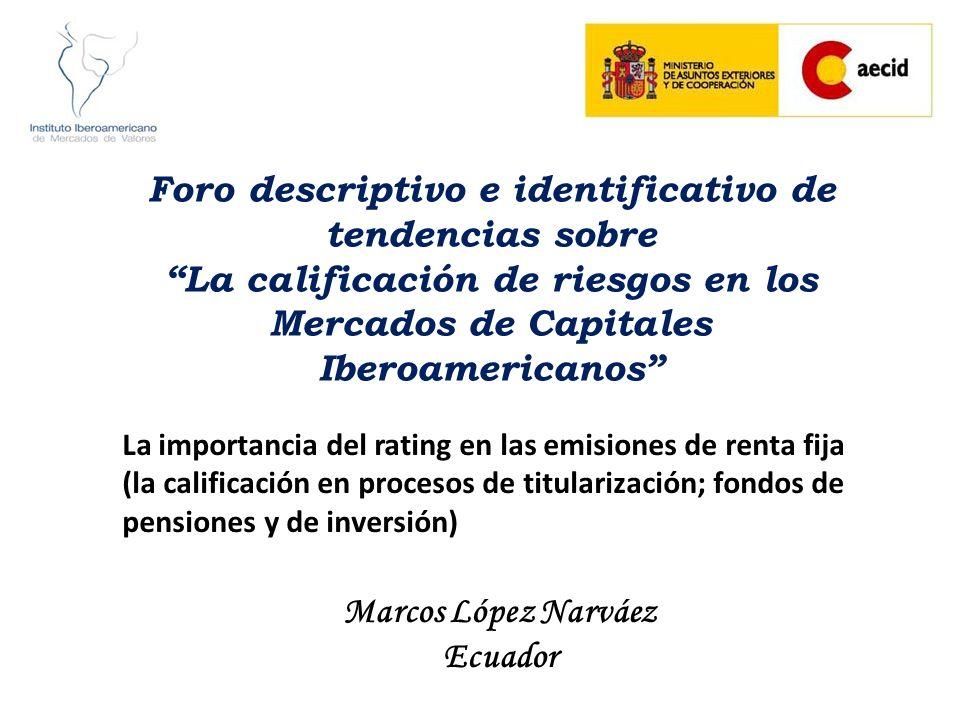 Foro descriptivo e identificativo de tendencias sobre La calificación de riesgos en los Mercados de Capitales Iberoamericanos La importancia del ratin