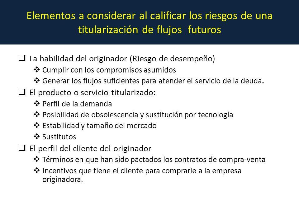 Elementos a considerar al calificar los riesgos de una titularización de flujos futuros La habilidad del originador (Riesgo de desempeño) Cumplir con