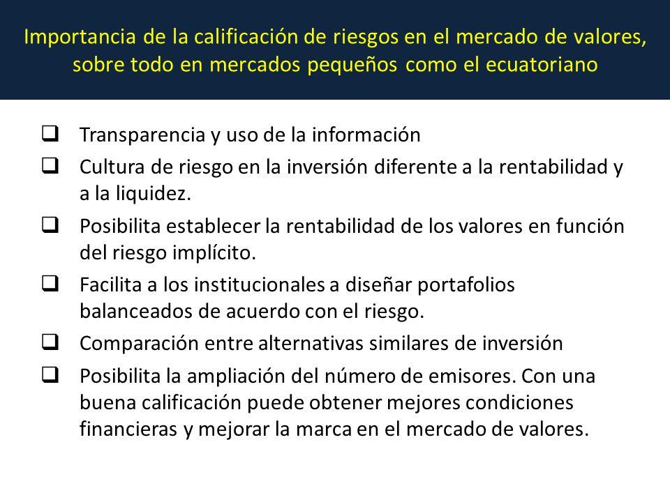 Importancia de la calificación de riesgos en el mercado de valores, sobre todo en mercados pequeños como el ecuatoriano Transparencia y uso de la información Cultura de riesgo en la inversión diferente a la rentabilidad y a la liquidez.