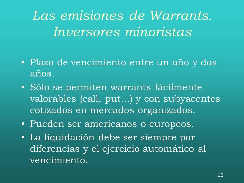 12 Las emisiones de Warrants. Inversores minoristas Plazo de vencimiento entre un año y dos años. Sólo se permiten warrants fácilmente valorables (cal