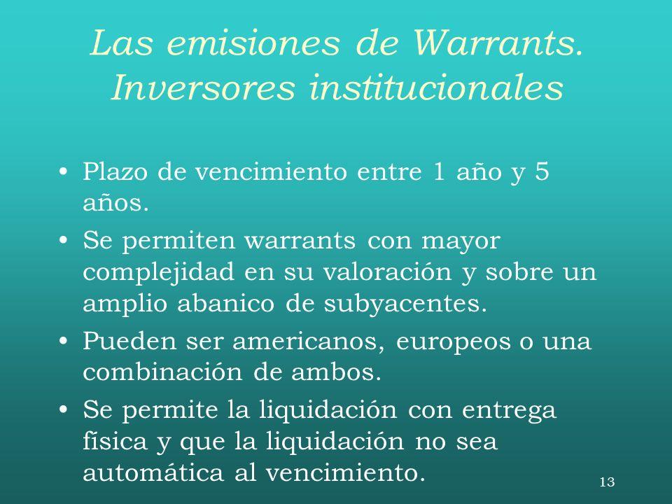 13 Las emisiones de Warrants. Inversores institucionales Plazo de vencimiento entre 1 año y 5 años. Se permiten warrants con mayor complejidad en su v