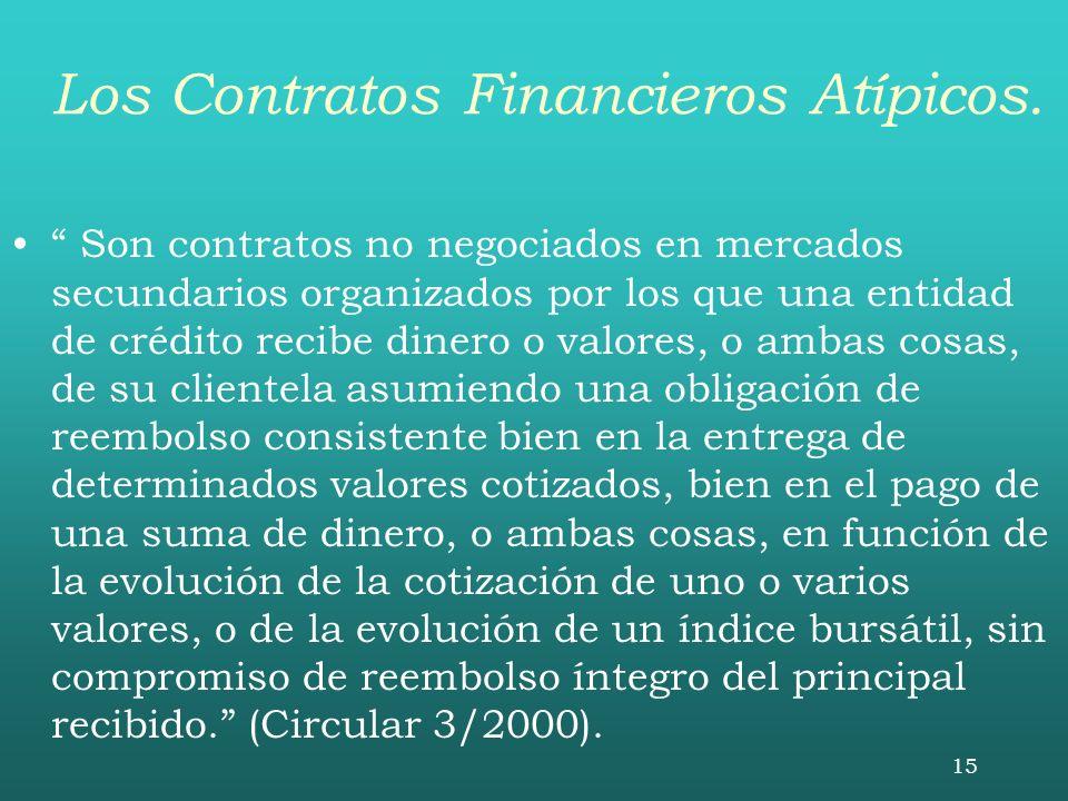 15 Los Contratos Financieros Atípicos. Son contratos no negociados en mercados secundarios organizados por los que una entidad de crédito recibe diner