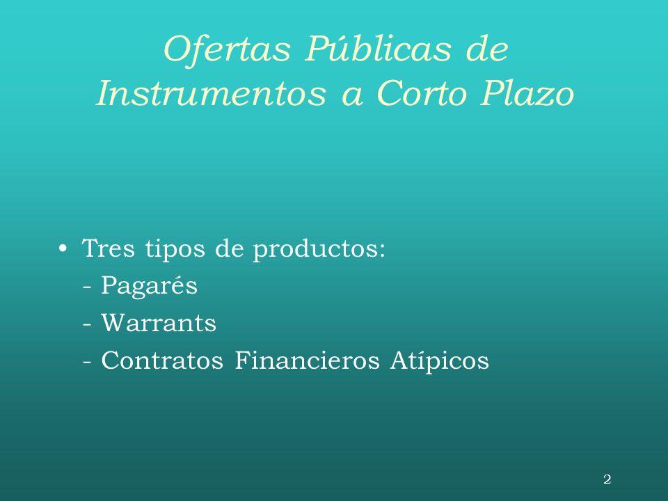 2 Ofertas Públicas de Instrumentos a Corto Plazo Tres tipos de productos: - Pagarés - Warrants - Contratos Financieros Atípicos