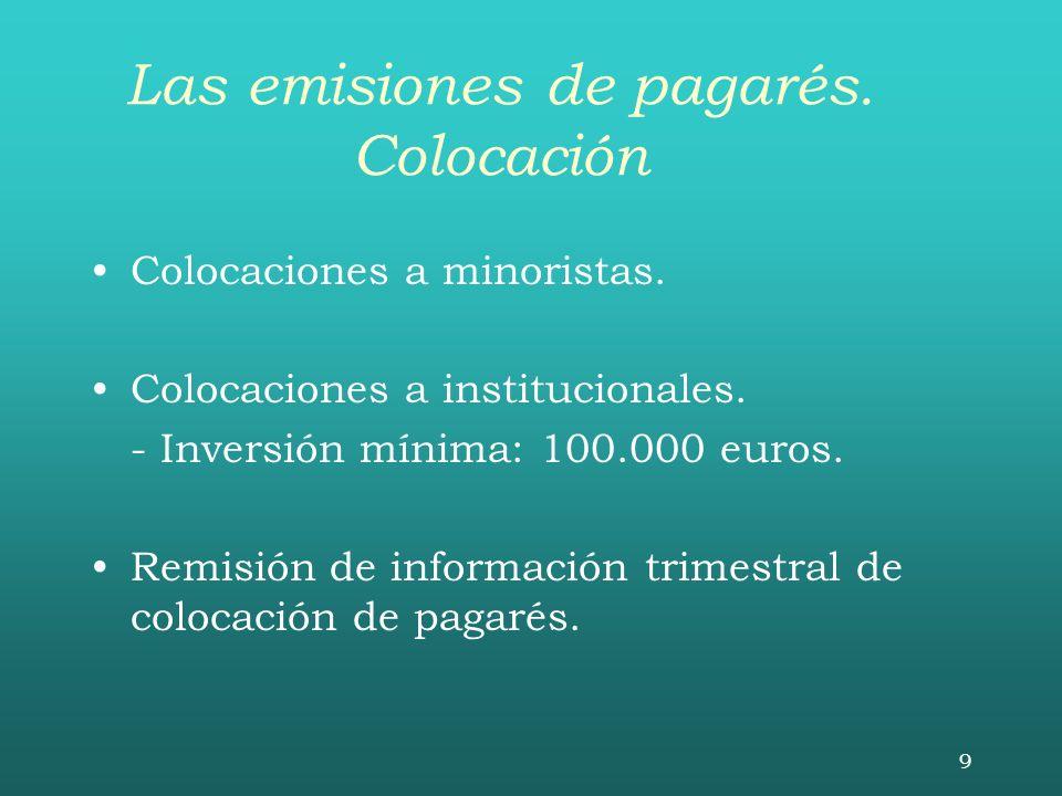 9 Las emisiones de pagarés. Colocación Colocaciones a minoristas. Colocaciones a institucionales. - Inversión mínima: 100.000 euros. Remisión de infor