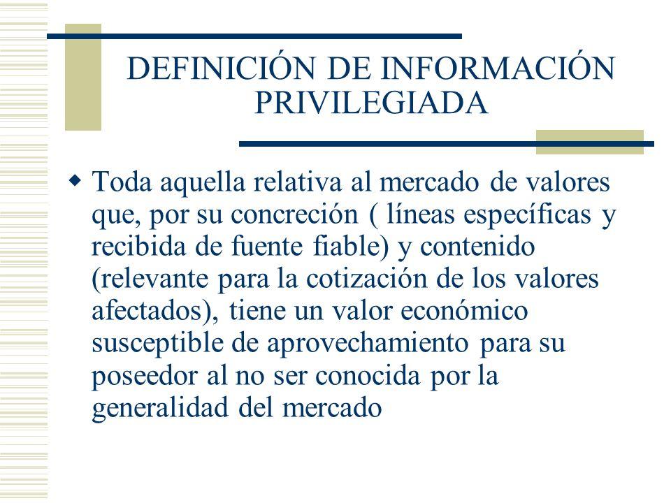 DEFINICIÓN DE INFORMACIÓN PRIVILEGIADA Toda aquella relativa al mercado de valores que, por su concreción ( líneas específicas y recibida de fuente fi