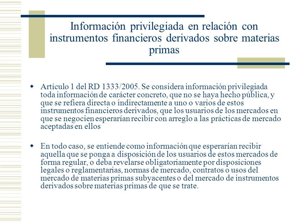 Información privilegiada en relación con instrumentos financieros derivados sobre materias primas Artículo 1 del RD 1333/2005. Se considera informació