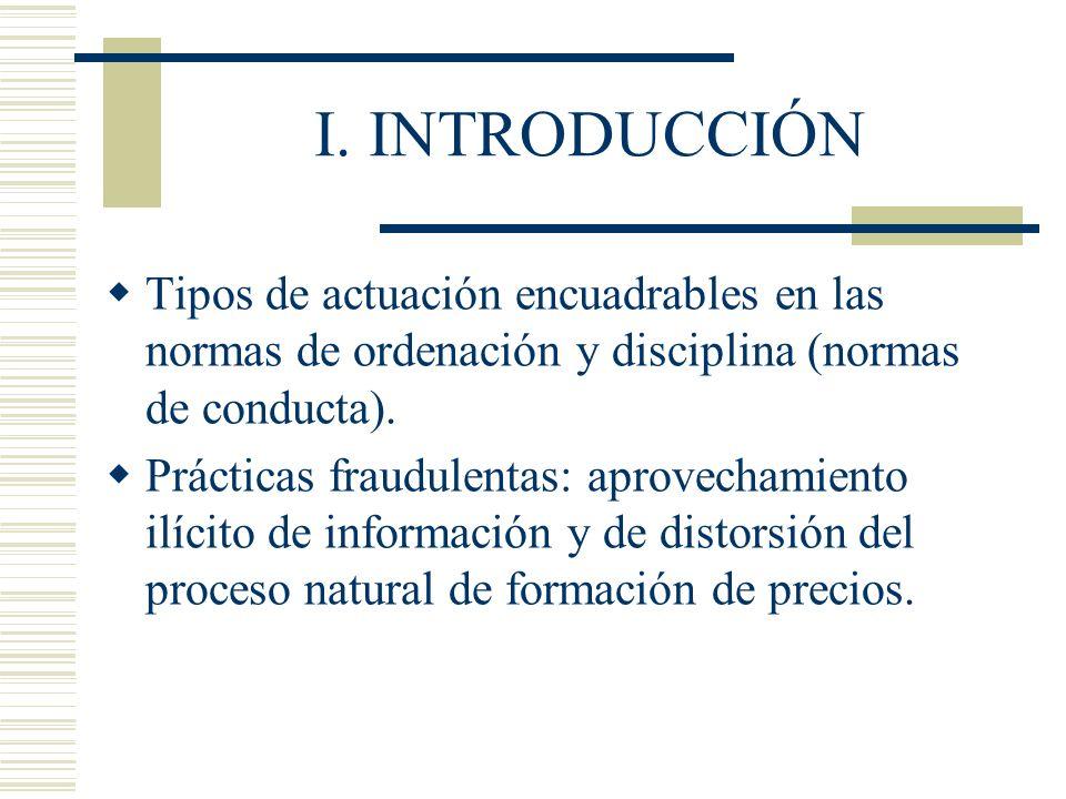 I. INTRODUCCIÓN Tipos de actuación encuadrables en las normas de ordenación y disciplina (normas de conducta). Prácticas fraudulentas: aprovechamiento