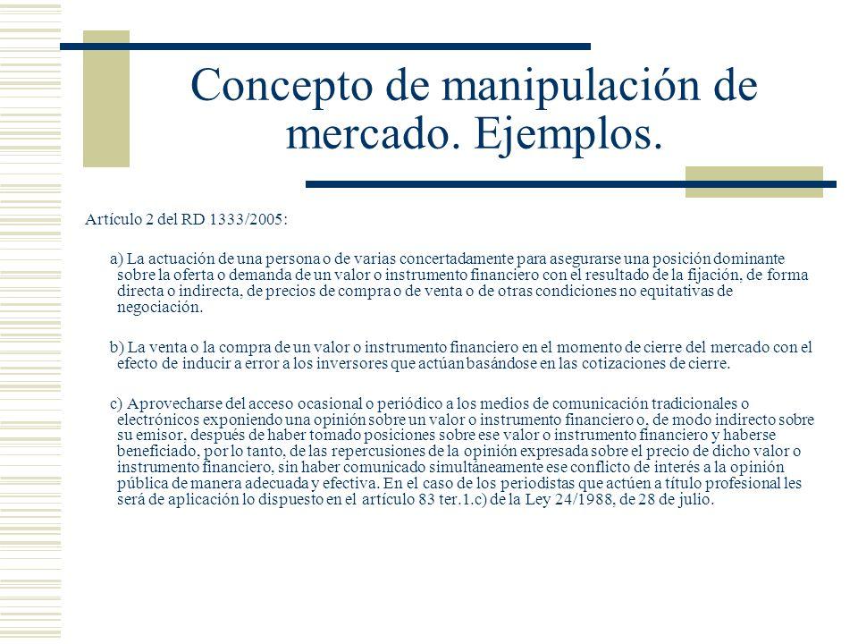 Concepto de manipulación de mercado. Ejemplos. Artículo 2 del RD 1333/2005: a) La actuación de una persona o de varias concertadamente para asegurarse