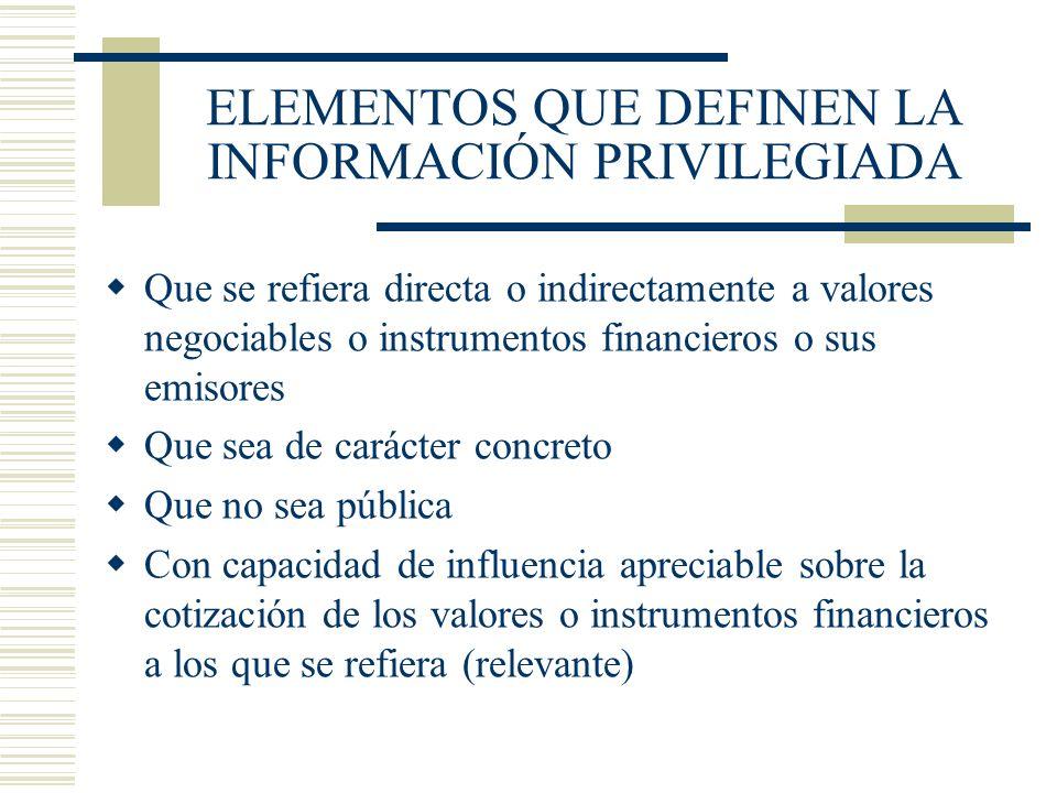 ELEMENTOS QUE DEFINEN LA INFORMACIÓN PRIVILEGIADA Que se refiera directa o indirectamente a valores negociables o instrumentos financieros o sus emiso