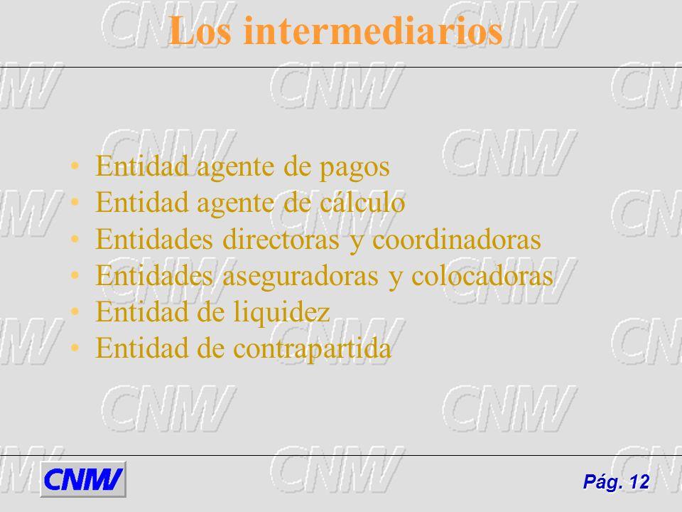 Los intermediarios Entidad agente de pagos Entidad agente de cálculo Entidades directoras y coordinadoras Entidades aseguradoras y colocadoras Entidad