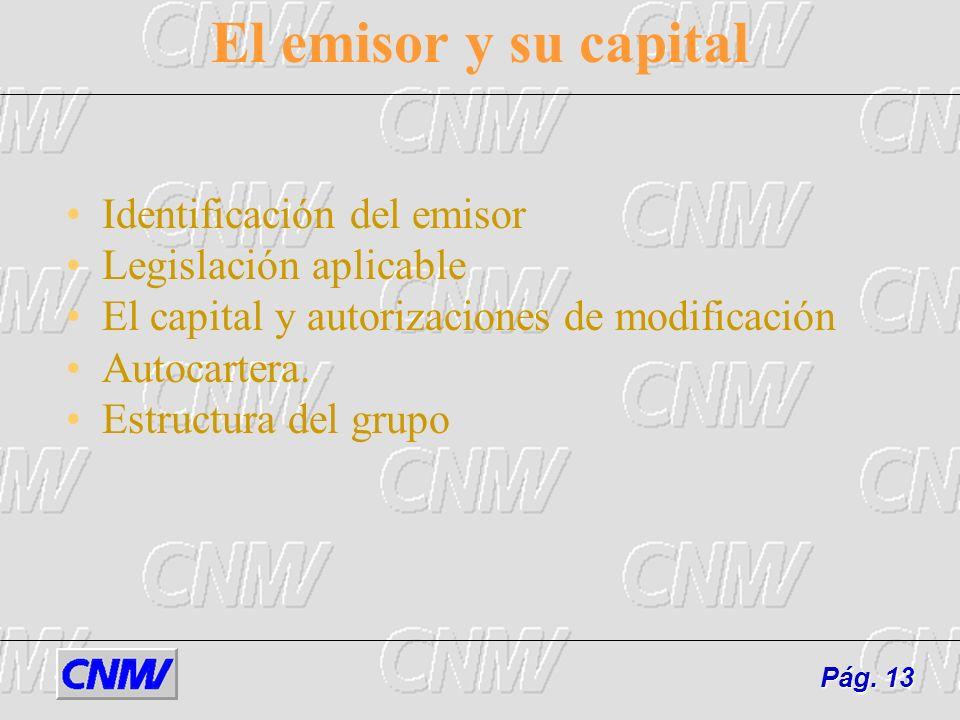 El emisor y su capital Identificación del emisor Legislación aplicable El capital y autorizaciones de modificación Autocartera. Estructura del grupo P